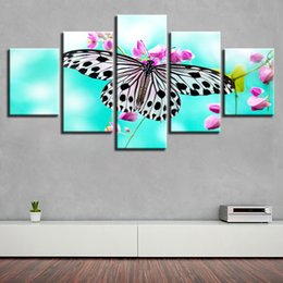 Canvas Prints Frame NZ - Canvas Pictures Living Room Wall Art 5 Pieces Beautiful Butterfly Flower Paintings Modular HD Prints Poster Home Decoration Frame