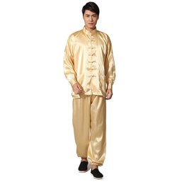 $enCountryForm.capitalKeyWord Australia - Novelty Gold Men's Satin Pajamas Set Chinese Style Button Pyjamas Suit Soft Sleepwear Shirt&trousers Nightgown S M L Xl Xxl MX190724