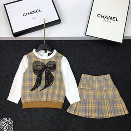 $enCountryForm.capitalKeyWord Australia - Girls skirts sets kids designer clothing bow tops + skirts 2pcs autumn shirt sleeves stitching plaid design cotton sets 19
