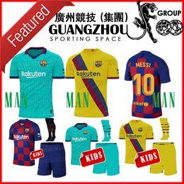 2019 Barcelona kids jerseys de futebol em casa MESSI 19 20 SUAREZ 9 DE JONG A.INIESTA COUTINHO CRIANÇA terceiro JERSEY O.DEMBLE FOOTBALL SHIRT 9 venda por atacado