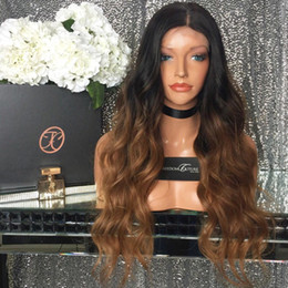 $enCountryForm.capitalKeyWord NZ - Top quality Brazilian Natural Wavy Human Hair Lace Front Wigs silk top Full Lace Human Hair Wig #1bT#30 Ombre Human Hair Wig