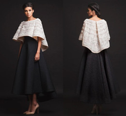 Images White Evening Dresses Australia - 2019 New Black White Krikor Jabotian Evening Dresses Two Pieces Ankle Length Half Sleeves Prom Dresses With Jacket Formal Dresses Real Image