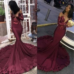 02f57ec90c7b7 Girls party tops online shopping - Maroon Burgundy Prom Dresses Mermaid  Illusion Sequins Lace Top Black
