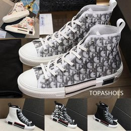 HigH denim boots online shopping - Flowers Technical Canvas B23 High Top Sneakers in Oblique Mens Luxury Designer Shoes Womens Fashion Sneakers Shoes Boots