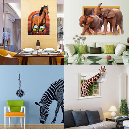 Large Horse Art Australia - Mixed style zebra horse elephant giraffe wall stickers 3D animal wall decals stickers for kinds room PVC wall art murals wallpaper