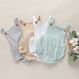 $enCountryForm.capitalKeyWord Australia - Autumn INS Infant Baby Boys Girls Rompers Summer Sleeveless Square Collar Organic Linen Cotton Newborn Boys Jumpsuits Bodysuits Onesies 0-2T
