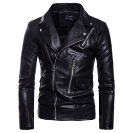 leather hip hop coat Australia - Men PU Leather Jacket Slim Fit Waterproof Warm Male Jackets Coats High Quality Motorcycle Hip Hop Clothing