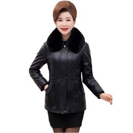 Parka Leather Sleeves Women Australia - Women Fur Collar Faux Leather Jacket Coat Pu Leather Warm Outwear Slim Thick Parka Female Jacket 2017 Winter Plus Size Re0156