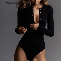 black v neck jumpsuit Australia - Wholesale-JULISSA MO Sexy V Neck Knitted Bodysuit Women Black Long Sleeve Buttons Rompers Womens Jumpsuit 2018 Casual One-pieces Bodysuits