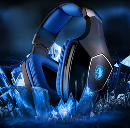 7.1 computers UK - Original Sades A60 USB Virtual 7.1 Gaming Headset Wired Headphones Deep Bass Vibration Casque Headphone with Mic Blue White for Gamer