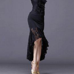 Long taiL skirts online shopping - New sexy Latin dance skirts women black lace skirt irregular fish tail skirt long ballroom dance dress
