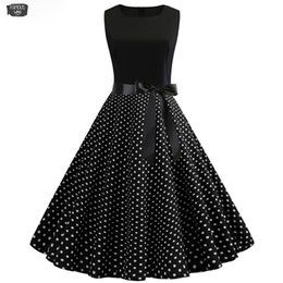 Wholesale 1950s dresses for sale – plus size Women Summer Dresses Robe Vintage S S Wear Up Big Party Work A Line Pin Rockabilly Dress Black Polka Dot