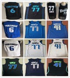 Stitched 2019 New Style Kristaps Porzingis Jersey Navy Blue White Black  Dirk Nowitzki Luka Doncic Jerseys Basketball Shirts 883057225
