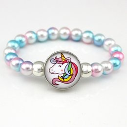Bead Girl Boy Australia - Unicorn Beads Bracelets 18mm Snap Holder Buttons Dome Cabochon Flamingos Charms Trendy Jewelry Girls Women Boy Unisex Gift