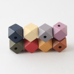 Beads & Jewelry Making 10pcs 20mm Gold And Silver Wooden Cube Unfinished Geometric Beads For Jewelry Making Necklace Diy Teething Jewelry Bead