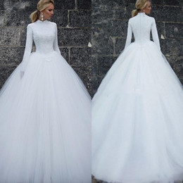 women black laces dresses 2019 - 2019 Vintage Muslim Wedding Dresses Long Sleeves High Neck Simple Women Bridal Dresses Custom Made Long Wedding Gowns di