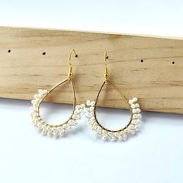 $enCountryForm.capitalKeyWord Australia - Fashion Bohemian Handmade earrings,Water Drop Metal Twine Pearl Earrings For Women Vintage Earrings Jewelry ER881