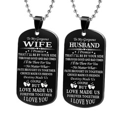 Necklaces Pendants Australia - Fashion Classic Couple Necklace My Soulmate I Love You Woman Stainless Steel Keychain Boyfriend Girlfriend Husband Wife Gift Dog Tag Pendant