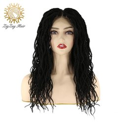 Discount lace front micro braid wigs ZigZag Natural Color Micro Twist Crochet Braids Hair Synthetic Lace Front Wigs for Black Women Goddess Braiding with Bab