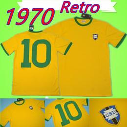 367e9396c Vintage Soccer Jerseys NZ -   10 Pele 1970 world cup brazil retro soccer  jersey Vintage