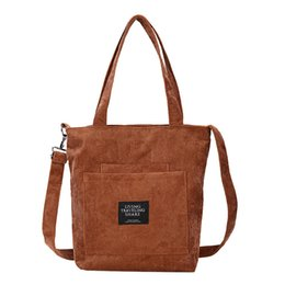 616118743 Women Corduroy Zipper Shoulder Bags Female Handbags Tote Ladies Canvas  Messenger Corssbody Bag Shopping Bag For