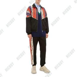 Neck aNkle chaiNs online shopping - designer brand Autumn men clothing fabric striped chain Tracksuits patchwork letter geometry zip suit sweatshirt coat sweatsuit