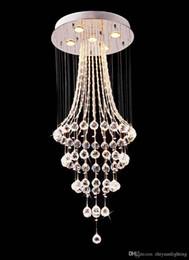 Venta al por mayor de Moderno K9 Crystal Raindrop Chandelier Lighting Flush Mount LED Lámpara de techo para comedor Baño Baño Sala de estar