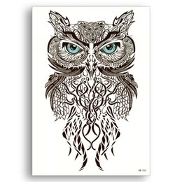 $enCountryForm.capitalKeyWord UK - Fake Temporary tattoo Water Transfer Black Bird blue eyes owl Stickers Women Men Sexy Cool Beauty Body Art live of song HB532