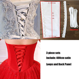 Corsets sets online shopping - Loops With Back Panel piece Set Satin Corset Wedding Gown Zipper Replacement Lace Up