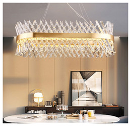 rectangular bedroom lights Australia - LED chandelier crystal living room lighting American designer hotel rectangular dining room lamp luxury lighting fixture Fedex