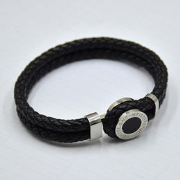 indian mens leather bracelets Australia - high quality MB Leather Bracelets Woven Antique mens black Charm Bracelets Toggle-clasps Man bangles luxury Jewelry for festival gift