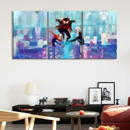 Art Canvas Prints Australia - Spider-Man:Into the Spider-Verse Poster Wall Art Prints oil painting on Canvas Picture Wall Painting 3pcs For Living Room No Frame