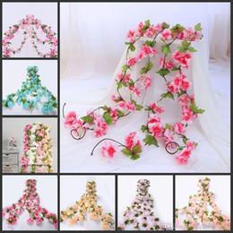 $enCountryForm.capitalKeyWord Australia - 230cm Silk Sakura Cherry Blossom Vine Lvy Wedding Arch Decoration Layout Home Party Rattan Wall Hanging Garland Wreath Slingers