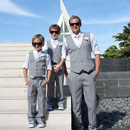 Formal Suits For Children Australia - Gray Ring Bearer Boy's Formal Wear Tuxedos Children Clothing For Beach Wedding Party Kids Suit Boy Set (Vest+Pants+Tie) Custom Made
