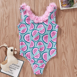 LittLe girLs one piece swimwear online shopping - Little Girl Summer Swimwear Watermelon Printing Lace Swimsuit Kids Swimwear Baby Girl Summer Swimsuits Clothes Kids Round Neck Swimwears