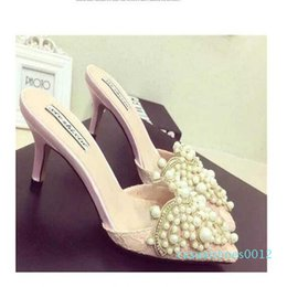pink sandals for wedding UK - Pearl Rhinestones High Heels Shoes For Ladies Pointed Toes Shoes Pink And Beige Sandal Shoes Size 35-39 Shipping c12