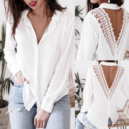 $enCountryForm.capitalKeyWord NZ - 201Women Backless V-Neck Lace Casual Top Ladies Long Sleeve Blouse womens tops and blouses white shirt