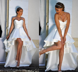 color high low wedding dresses Canada - 2019 cheap High Low Short Wedding Dresses Strapless A-line Simple Satin Beach Bridal Gowns Outdoor Wedding Dress Custom Made