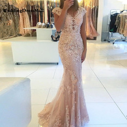 Wholesale latest dresses for sale - Group buy Latest Fashion Cap Sleeve Mermaid Formal Evening Gown robe de soiree Lace Prom Long Elegant Dresses