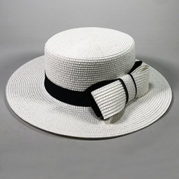 $enCountryForm.capitalKeyWord Australia - HT2372 Straw Hat Black Band Big Bow Women Summer Hat Flat Brim Fedora Panama Boater Ladies Flat Top Wide Brim Beach Sun