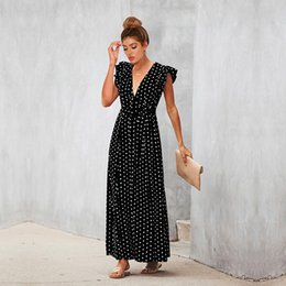 beach maxi dresses short sleeves Australia - Polka Dot V Neck Summer Bohemian Beach Dress Short Ruffle Sleeve Maxi Women Dresses Empire Belt Vestidos Verano 2019