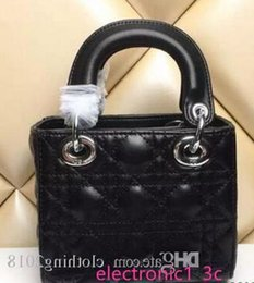 lady fashion handbag celebrity Canada - 2020 High Quality Celebrity Design Lady Mini Plaid Handbag Patent Leather Rivets Tote Bag With Charms Lambskin Miss Bag