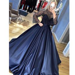 $enCountryForm.capitalKeyWord Australia - Navy Blue Spaghetti Strap Princess Prom Dresses With Jacket Jewel Neck Beading Ruched Abendkleider Evening Gown Satin Long Pageant Dress