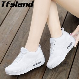 shoes sneakers wedge woman Australia - Tfsland Women Wedges Walking Shoes Female Breathable Running Mesh Lace Up Air Cushion Sneakers Women Flat Shoes Zapatillas Mujer