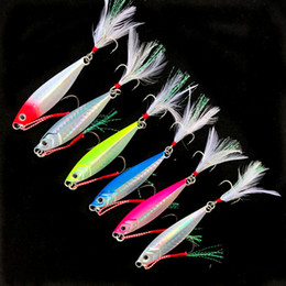 feather lures Australia - Fishing Small Jigs Lure Double Hooks Shore Shot Slow Shaking 10-60g Jigbaits Artificial Metal Lures with Treble Feather Hooks
