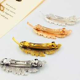 Hair Feathers Tools Australia - 1Pcs Fashion Metal Leaf Shape Hair Clip Barrettes Crystal Pearl Hairpin Barrette Color Feather Hair Styling Tool