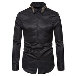 $enCountryForm.capitalKeyWord Australia - Fall Winter Stand Collar Mens Long-sleeved Dress Shirts Black Red White Slim Elegant Youth Male Business Wedding Formal Shirt