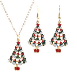 Fashion Women Jewelry Sets Dripping Oil Christmas Tree Garland Small Bell Snowman Christmas Stocking Necklace Earrings Suit Christmas Gift on Sale
