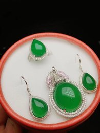 $enCountryForm.capitalKeyWord Australia - 925 silver inlaid natural green jade pendant necklace drop earrings drop egg face jade set