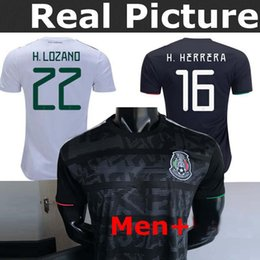 2b13946705b 2019 Mexico Jersey Black home Soccer Jerseys 2019 World Cup Home Away  CHICHARITO Camisetas de futbol H.LOZANO G.DOS SANTOS Adult Shirts